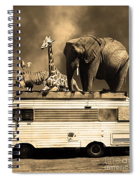 Barnum And Bailey Goes On A Road Trip 5d22705 Vertical Sepia Spiral Notebook