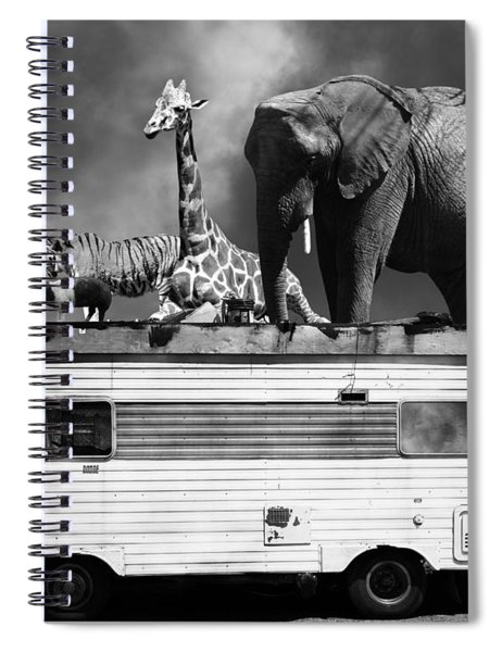 Barnum And Baileys Fabulous Road Trip Vacation Across The Usa Circa 2013 22705 Black White With Text Spiral Notebook