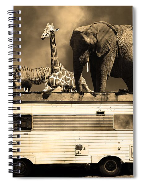 Barnum And Baileys Fabulous Road Trip Vacation Across The Usa Circa 2013 5d22705 Sepia With Text Spiral Notebook