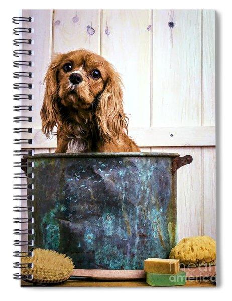 Bath Time - King Charles Spaniel Spiral Notebook