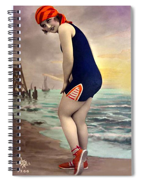 Bathing Beauty In Orange And Navy Bathing Suit Spiral Notebook