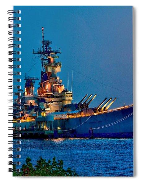 Battleship New Jersey At Night Spiral Notebook