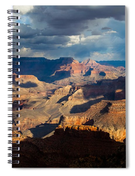 Spiral Notebook featuring the photograph Battleship Rock In The Shadows by Ed Gleichman