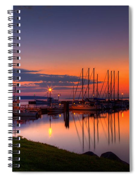 Bayfield Wisconsin Fire In The Sky Over The Harbor Spiral Notebook