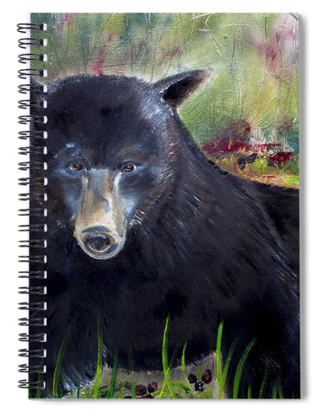 Spiral Notebook featuring the painting Bear Painting - Blackberry Patch - Wildlife by Jan Dappen