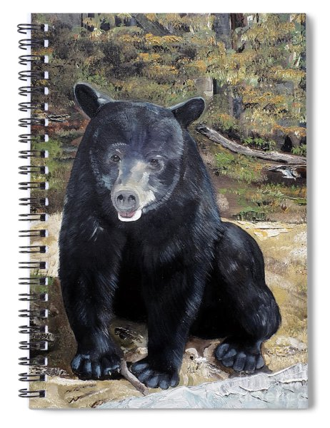 Spiral Notebook featuring the painting Bear - Wildlife Art - Ursus Americanus by Jan Dappen