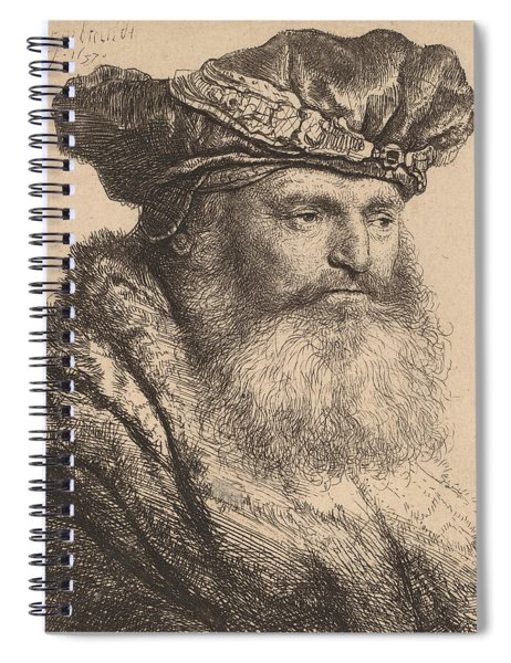 Bearded Man In A Velvet Cap With A Jewel Clasp Spiral Notebook