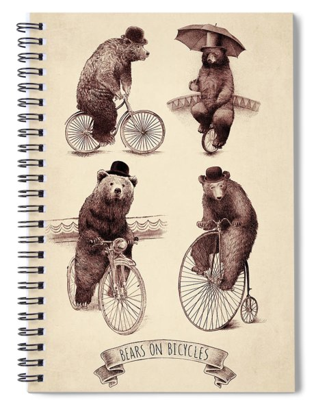 Bears On Bicycles Spiral Notebook by Eric Fan