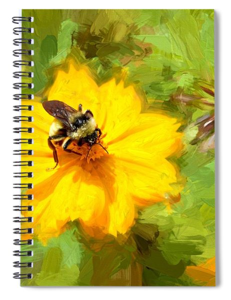 Bee On Flower Painting Spiral Notebook