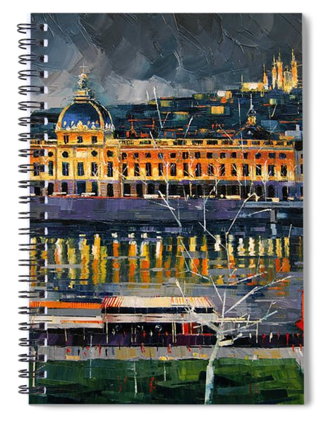 Before The Storm - View On Hotel Dieu Lyon And The Rhone France Spiral Notebook