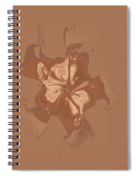 Beige Satin Morning Glory Spiral Notebook