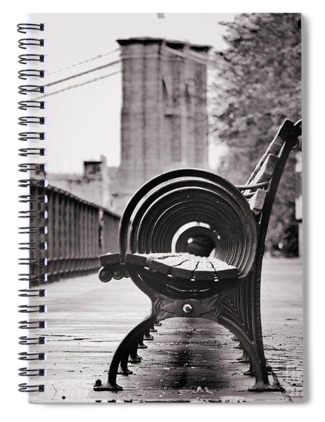 Bench's Circles And Brooklyn Bridge - Brooklyn Heights Promenade - New York City Spiral Notebook