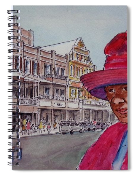 Bermuda Lady In Red And Cop Spiral Notebook
