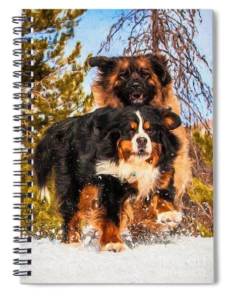 Bernese Mountain Dog And Leonberger Winter Fun Spiral Notebook