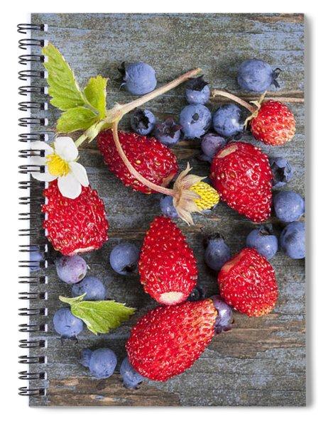 Berries On Rustic Wood  Spiral Notebook