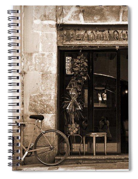 Bicycle And Reflections At L'antiquari Bar  Spiral Notebook