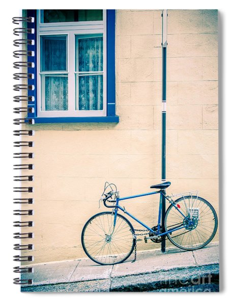 Bicycle On The Streets Of Old Quebec City Spiral Notebook