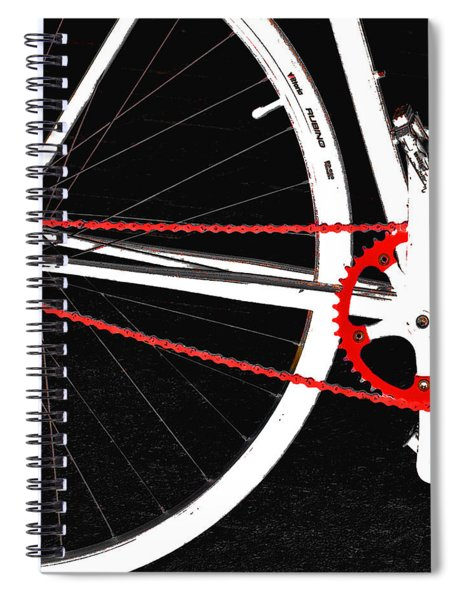Bike In Black White And Red No 2 Spiral Notebook