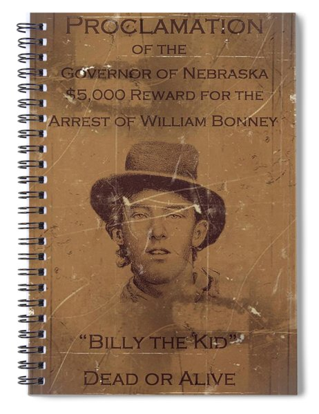 Spiral Notebook featuring the digital art Billy The Kid Wanted Poster by Movie Poster Prints