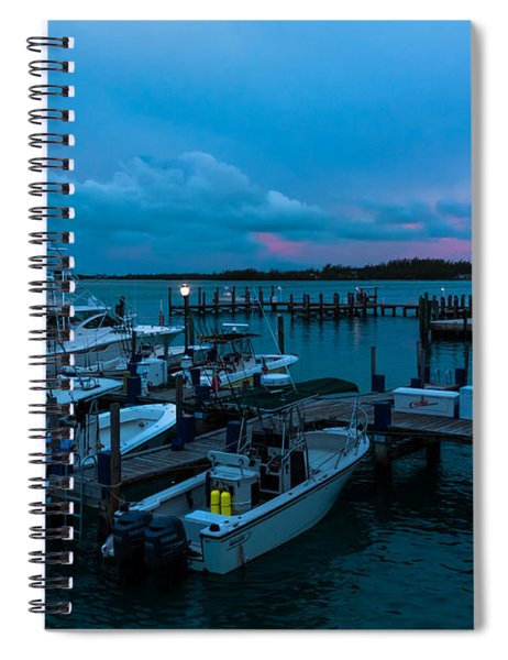 Spiral Notebook featuring the photograph Bimini Big Game Club Docks After Sundown by Ed Gleichman