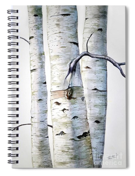 Birch Trees In Watercolor Spiral Notebook