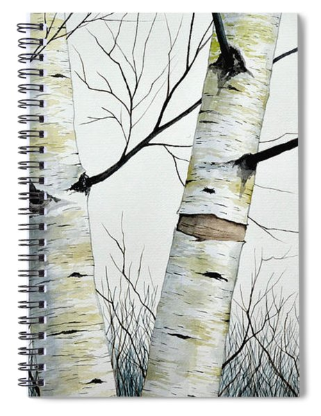 Birch Trees In The Forest In Watercolor Spiral Notebook