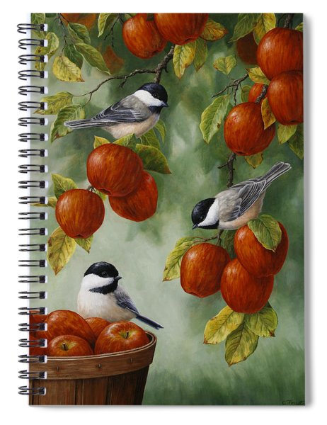 Bird Painting - Apple Harvest Chickadees Spiral Notebook