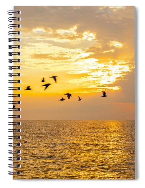 Birds In Lake Erie Sunset Spiral Notebook