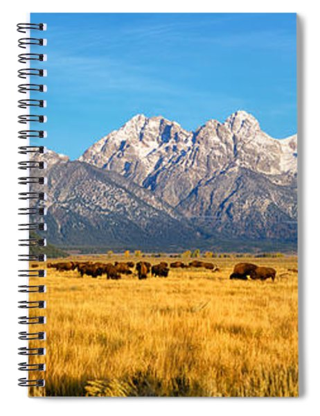 Bison Beneath The Tetons Limited Edition Panorama Spiral Notebook