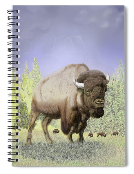 Bison On The Range Spiral Notebook