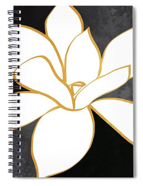 Black And Gold Magnolia- Floral Art Spiral Notebook