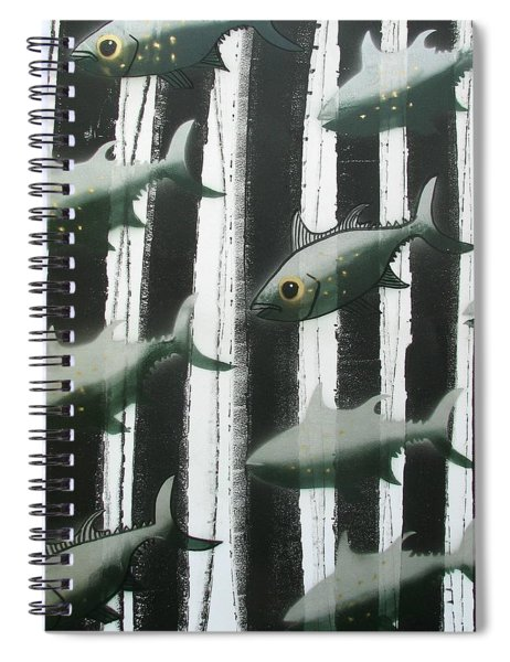 Black And White Fish Spiral Notebook