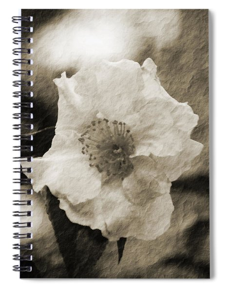 Black And White Flower With Texture Spiral Notebook