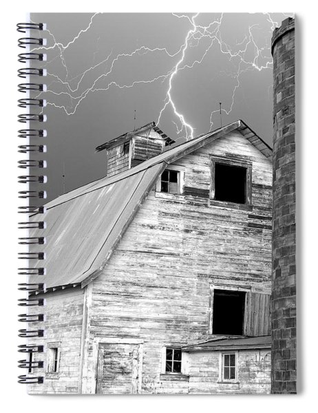 Black And White Old Barn Lightning Strikes Spiral Notebook