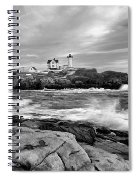 Black And White Painted Seascape Spiral Notebook