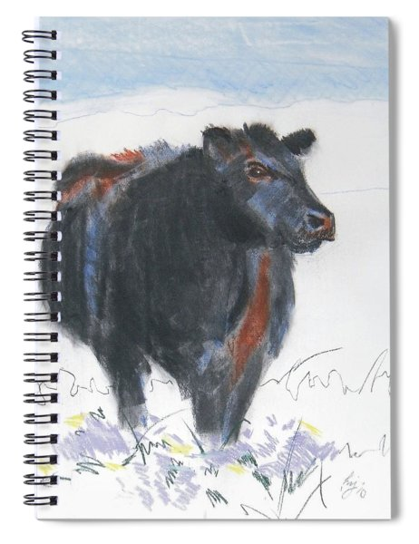 Black Cow Drawing Spiral Notebook