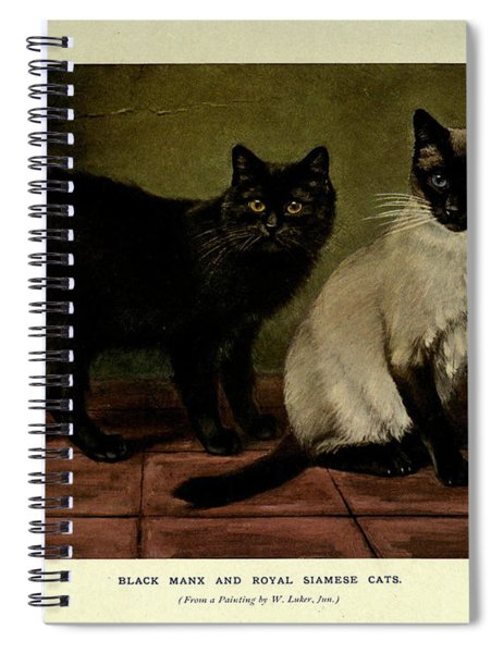 Black Manx And Royal Siamese Cats Spiral Notebook