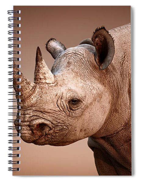 Black Rhinoceros Portrait Spiral Notebook