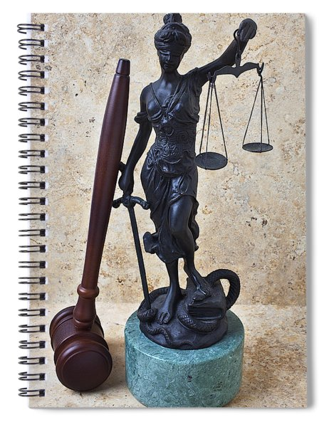 Blind Justice Statue With Gavel Spiral Notebook
