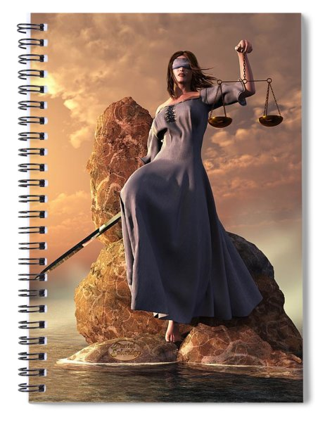 Blind Justice With Scales And Sword Spiral Notebook