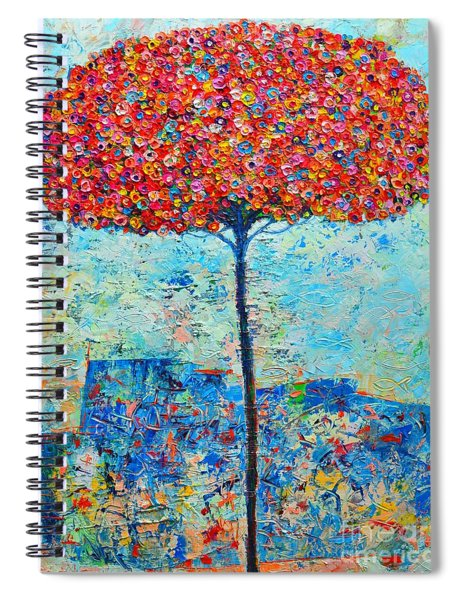 Blooming Beyond Known Skies - The Tree Of Life - Abstract Contemporary Original Oil Painting Spiral Notebook