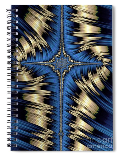 Blue And Gold Cross Abstract Spiral Notebook