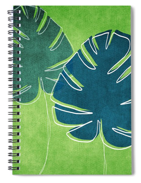 Blue And Green Palm Leaves Spiral Notebook by Linda Woods