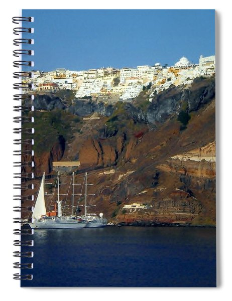 Blue And White Santorini Spiral Notebook