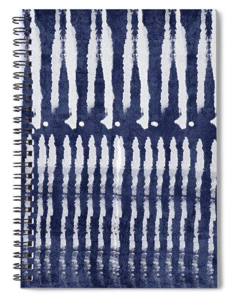 Blue And White Shibori Design Spiral Notebook by Linda Woods
