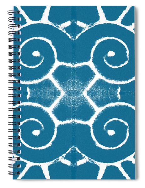 Blue And White Wave Tile- Abstract Art Spiral Notebook