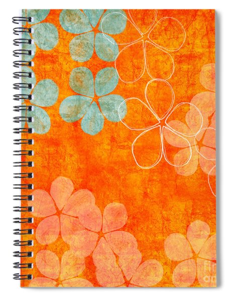Blue Blossom On Orange Spiral Notebook