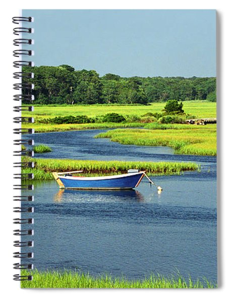 Blue Boat On The Herring River Spiral Notebook