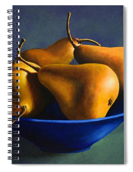 Blue Bowl With Four Pears Spiral Notebook