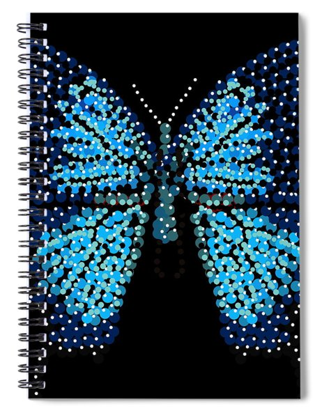 Blue Butterfly Black Background Spiral Notebook